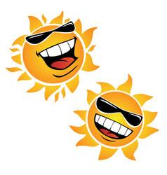 bright smiling happy sun cartoon vector image vector image