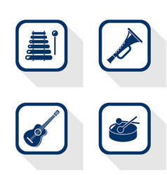 flat design icons music set vector image vector image