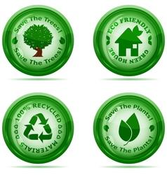 set of green environmental icons vector image vector image