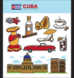 cuba travel landmarks symbols and tourist vector image vector image