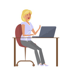girl blogger at computer vector image
