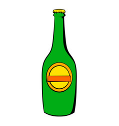 Green bottle of beer icon icon cartoon vector