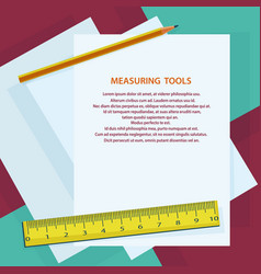 measuring instruments ruler pencil against vector image