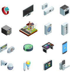 Smart Home Elements Isometric Icons Collection vector image vector image