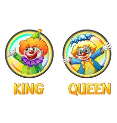 Clowns being king and queen vector image vector image