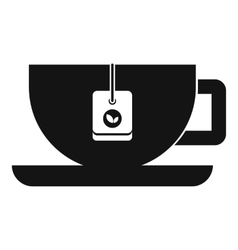 Cup of tea with tea bag icon simple style vector image
