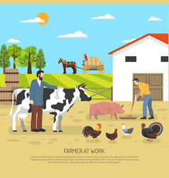 farmer at work background vector image vector image