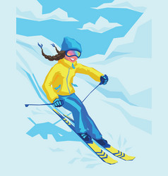 happy girl on winter resort skiing there vector image