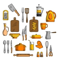 Kitchenware and kitchen utensil icons vector image