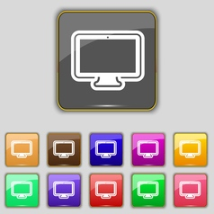 monitor icon sign Set with eleven colored buttons vector image vector image
