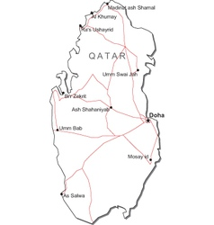 Qatar Black White Map vector image vector image