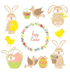 Set for Easter Easter bunnies flowers birds vector image vector image