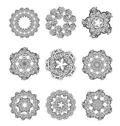 Set Mandalas Round Ornament vector image