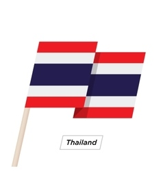 Thailand Ribbon Waving Flag Isolated on White vector image