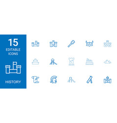 15 history icons vector