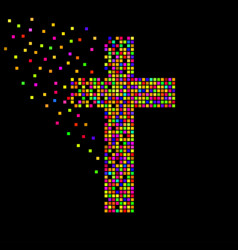 Abstract colorful cross pixeles christian vector