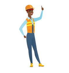 african builder pointing with her forefinger vector image