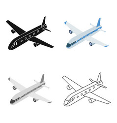 airplane icon in cartoon style isolated on white vector image