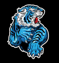 animals angry tiger blue on black background vector image