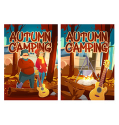autumn camping cartoon posters touristic vacation vector image