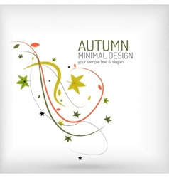 Autumn swirl plant and leaves minimal vector