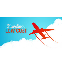 Banner advertising low cost airlines red vector