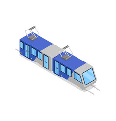 blue tram isolated isometric 3d icon vector image