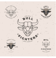 Bull head logo set vector