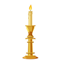 Candle in a candlestick icon cartoon style vector