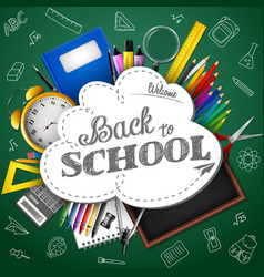 cartoon school supplies on background whiteboard vector image