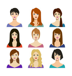 cartoon woman trendy hairstyles icons set vector image