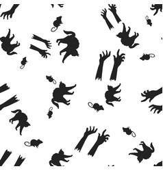 cat rat hand halloween pattern seamless vector image