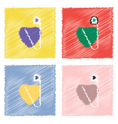 Collection of flat shading style icons heart with vector