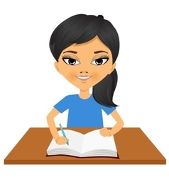 Cute little asian student girl writing vector