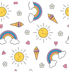 Cute pastel seamless pattern with ice cream sun vector