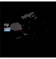 Detailed map of Fiji and capital city Suva with vector