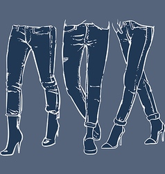 Drawing womens fashionable denim jeans vector image