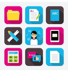 Education themed squared app icon set vector image