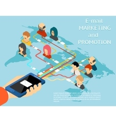 Email marketing and promotion mobile app isometric vector image