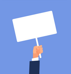 Empty sign in hand hands holding blank protest vector