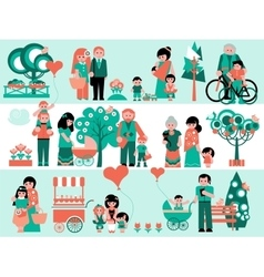 Family People Set with Landscaping Elements vector image
