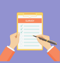 feedback survey form on clipboard with hands vector image