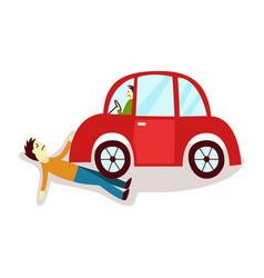 Flat cartoon pedestrian accident isolated vector