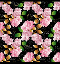 floral 3d roses seamless pattern black vector image