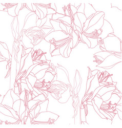 Floral pink line lilies background vector