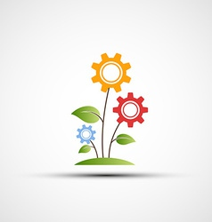 flower logo in the form of gears vector image