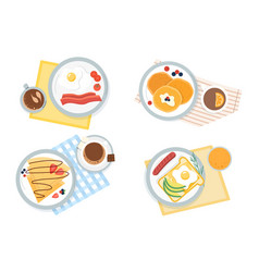 four assorted servings breakfast vector image