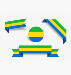gabon flag stickers and labels vector image