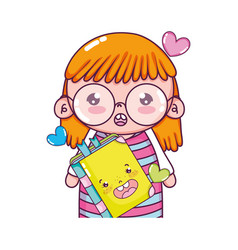 Girl with glasses and kawaii happy book vector