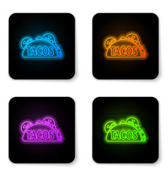 glowing neon taco with tortilla icon isolated on vector image